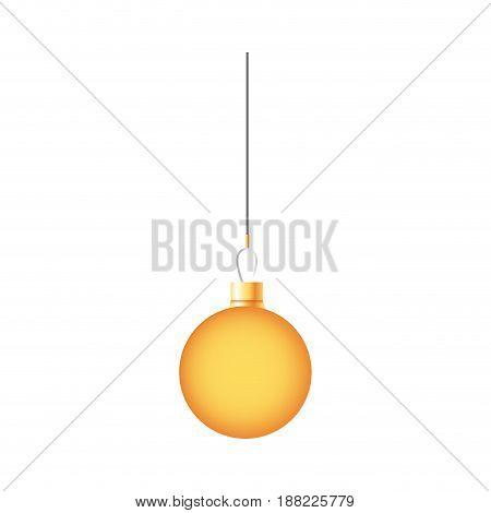 golden ball christmas decoration hanging vector illustration