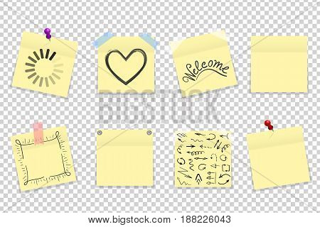 Mega Pack Of Yellow Office Paper Stickers With Shadow Isolated. Vector Illustration