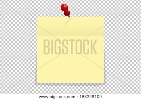 Yellow Office Paper Sticker On Red Pin Isolated. Vector Illustration