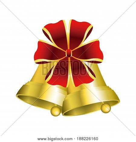 christmas bells with decorations golden ribbon vector illustration