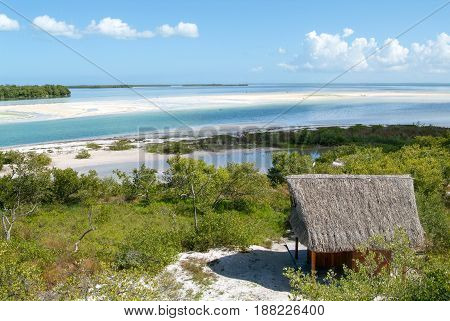 Holbox, Mexico - 28 January 2009: View on the island de los Pajaros in Holbox Mexico