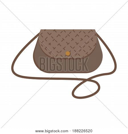 Female handbag over the shoulder, colorful flat illustration of handbag accessory. Vector