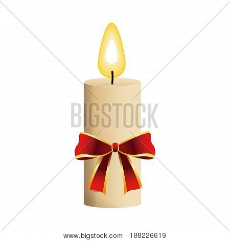 christmas candle with red bow flame icon vector illustration