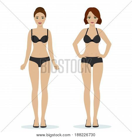Girls in black underwear, black bras and panties, colorful flat illustration of women underwear. Vector