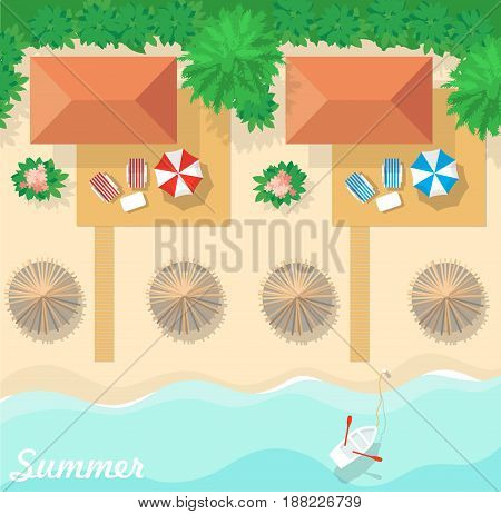 Aerial view of summer beach in flat design style. Bungalow resort for summer holidays.