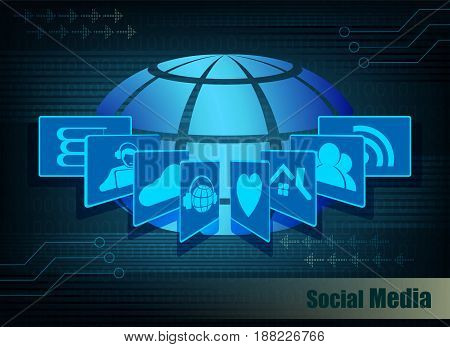 Blue background with globe design, wireless Internet information network, social media silhouettes