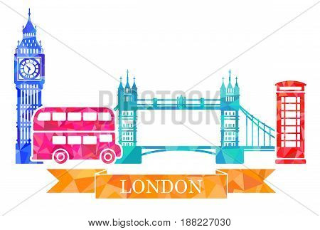 Big Ben, tower bridge, double-Decker, red telephone box. Traditional symbols of London in polygonal style