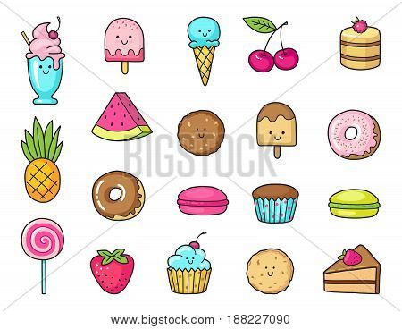 Funny flat icons of donuts, cupcakes, fruit, berries and ice cream