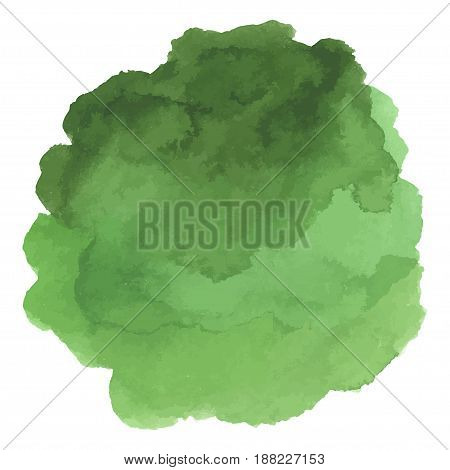 Round watercolor stains on white background, with overflow gradients of green and dark green. Smears of paints