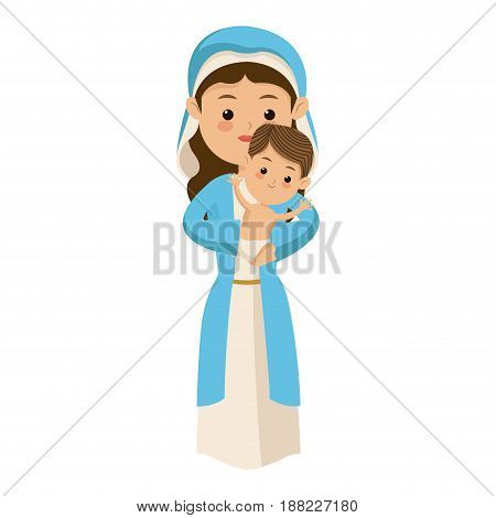 cute virgin mary holding baby jesus cartoon vector illustration