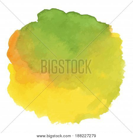 Round watercolor stains on white background, with overflow gradients of yellow and green. Smears of paints