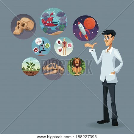 realistic color poster scientist with icons world evolution vector illustration