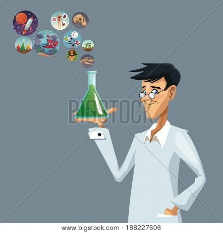 realistic color poster closeup scientist with glass beaker with formula and icons world evolution vector illustration
