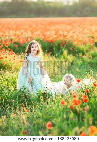 childhood, entertainment, weekends, celebration concept - two cheerful kiddies, wearing sunday outfits of blue and white colores, fooling around in the field of wild poppy flowers
