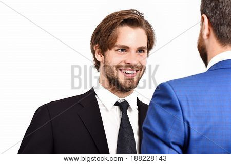 Boss And Employee, Happy Men In Jacket Speaking At Meeting