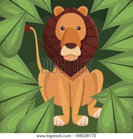 realistic color poster closeup lion in the jungle vector illustration