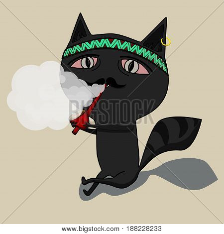 The cat clears a pipe, shaman. Cute black cartoon cat. Big mustache whisker. Funny character. Flat design. White background. Isolated. Vector illustration