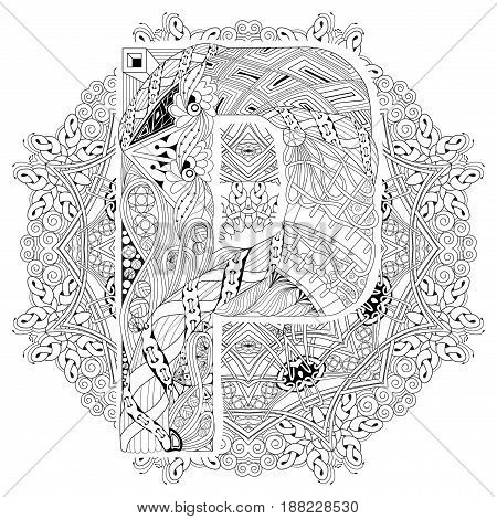 Hand-painted art design. Adult anti-stress coloring page. Black and white hand drawn illustration mandala with letter P for coloring book