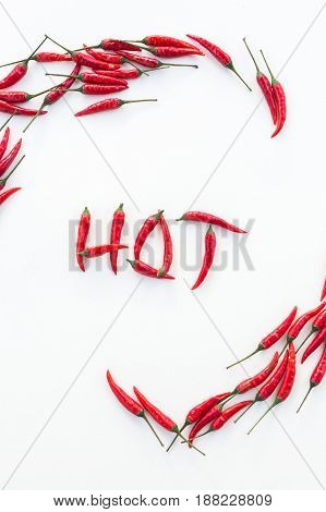 red hot chili peppers, popular spices concept - pattern of lying peppers, beautiful poster with decorative word HOT made of red hot chili peppers on white background, top view, vertical