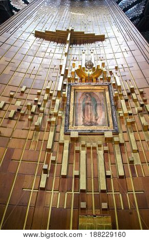 Mexico City Mexico - 9 January 2009: Painting Shrine of the Basilica of Our Lady of Guadalupe at Mexico City Mexico