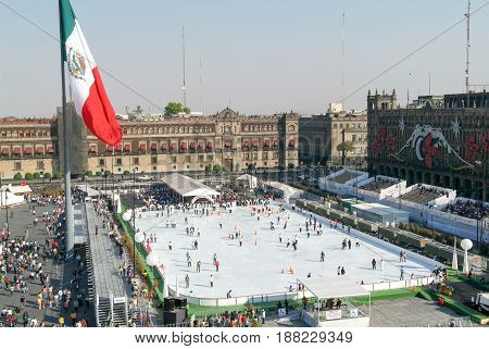 People Skating On Ice At Zocalo Square At Mexico City