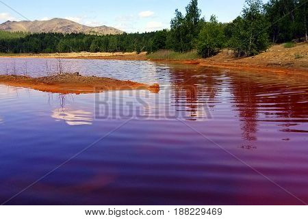 Karabash city Chelyabinsk region Russia. A lake near to Sak-Yelga river. One of the most polluted place in the world.