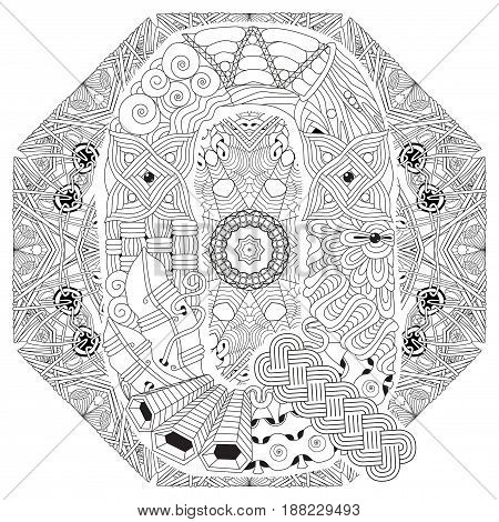Hand-painted art design. Adult anti-stress coloring page. Black and white hand drawn illustration mandala with letter Q for coloring book