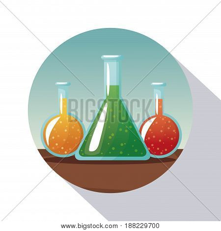 circular frame shading of poster closeup set glass beakers with formula vector illustration