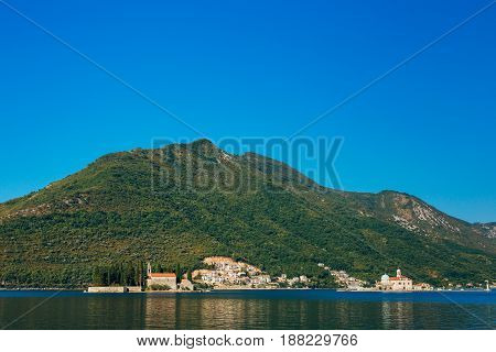 The island of Gospa od Skrpela in the Boko-Kotorsky Gulf near the town of Perast in Montenegro.