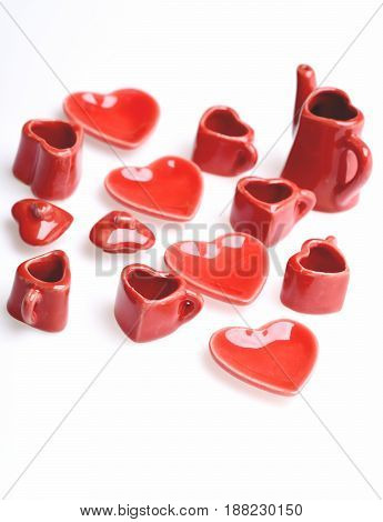 Plates In Shape Of Heart And Other Tiny Red Dishes