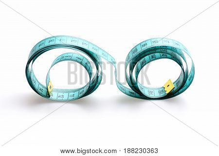 Tape For Measuring Unrolled Wavy, Isolated On White Background