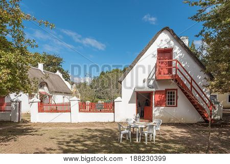 GENADENDAL SOUTH AFRICA - MARCH 27 2017: A parsonage in Genadendal dating 1793 now a tea room. Genadendal is the first mission station in South Africa founded 1738