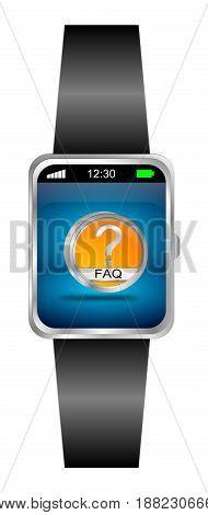 Smartwatch with orange FAQ Button - 3D illustration