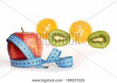 Tropical Fruit: Orange And Kiwi Fruit Halves Together With Apple