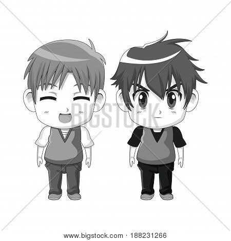 monochrome set silhouette cute anime tennagers facial expression happiness and angry vector illustration