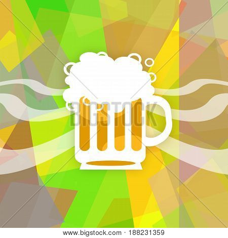 Full beer mug on abstract colorful background