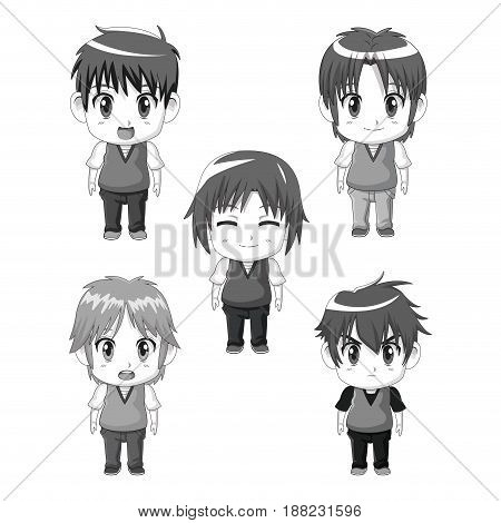 monochrome set silhouette full body cute anime tennagers facial expressions vector illustration