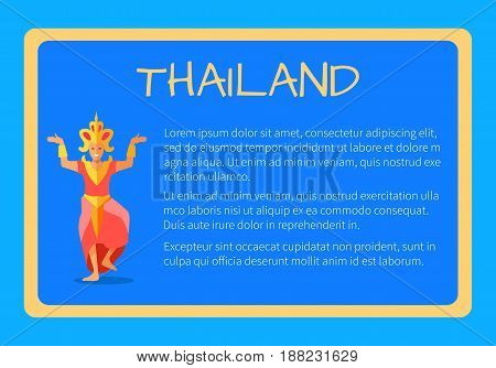 Thailand framed touristic banner with national symbols and sample text. Thai dancer woman in traditional costume flat vector illustrations. Vacation in asian country concept for travel company ad