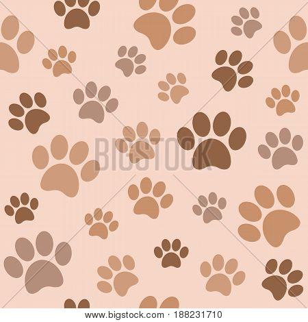 seamless paw pattern, paw background, flat design