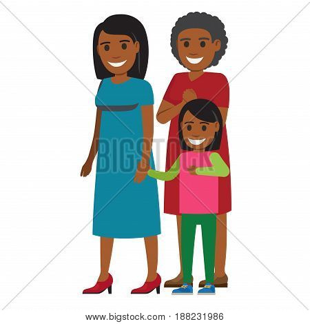 Cute african American girl standing with her happy mother and grandmother flat vector isolated on white background. Three generations of women illustration for family values and motherhood concepts