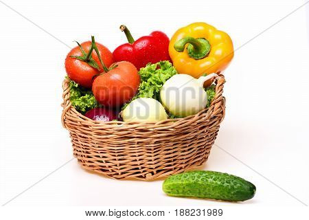 Diet Concept, Vegetables, Lettuce, Tomatoes, Onions, Peppers, Cucumber In Basket