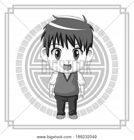 monochrome background japanese symbol with silhouette cute anime teennager expression surprise vector illustration