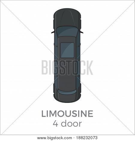 Limousine top view icon. luxury car with long body from roof view with text isolated flat vector. Personal passenger car illustration for urban transport concepts and infographics design