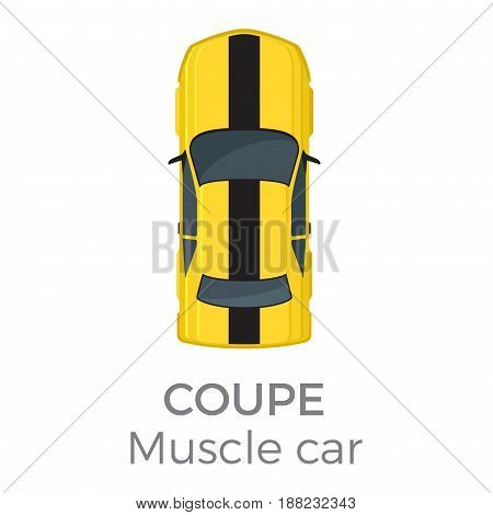 Muscle car coupe top view icon. Modern race car roof view with text flat vector isolated on white background. Personal passenger vehicle illustration for urban transport concepts and infographics