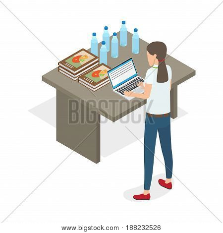 Young business woman standing and practicing on computer isolated on white. Five books or reports with charts, six bottle with water and open laptop lying on table vector illustration flat design.