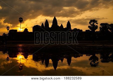 The Temple Of Angkor Wat In Cambodia