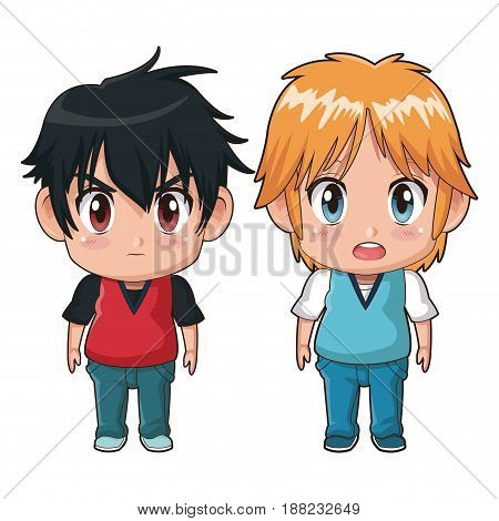 colorful full body couple cute anime tennager facial expression bewildered and angry vector illustration