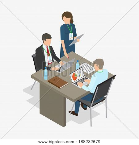 Three workers, two men sit at table with laptops, bottles of water, book and documents, and woman stands and points at one of monitors, on white background. Vector illustration of work process.