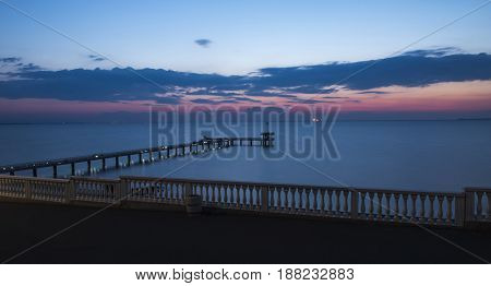 bridge on sunrise in the  sea, Burgas Bulgaria