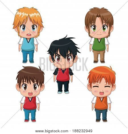 colorful set full body cute anime tennagers facial expression vector illustration